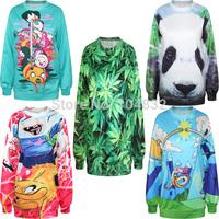EAST KNITTING Harajuku New Fashion 2014 Women Pullovers Funny 3D Sweatshirts Adventure Time Print Sweaters Hoodies Top