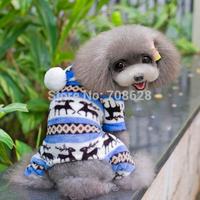 4Color Coral Velvet Dog Winter Clothes Cute Fawn Pajamas Pet Warm Hoodie Coat Jumpsuit Overalls For Christmas S M L XL XXL