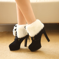 2015 new female autumn winter warm snow high thin heels pumps women's  boots  lace up  shoes hot sale sexy lady stiletto