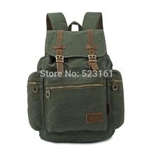 Canvas Retro Backpack with Genuine Leather Trim Laptop Ipad Drawstring Bag Men/Women Travel Luggage Rucksack Hiking Backpack(China (Mainland))