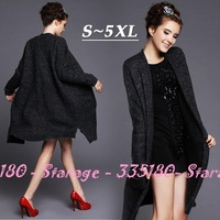 S-5XL High-quality Brand Ladies Black Mohair Knitted long Sweater Ladies Wool Cardigan 2014 Autumn Plus Size Women Clothing G201