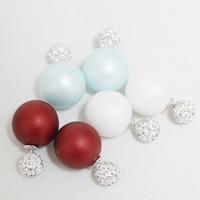 2014 christmas free shipping  fashion accessories white rhinestone scrub double ball red  pearl earrings