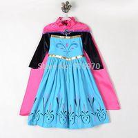 Fall autumn New Arrival frozen elsa costume with long cape elsa coronation dress