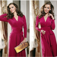 2014 sale red autumn Women New Deep V Sexy long sleeve cotton winter warm knee length casual women's vintage dress with belt 835