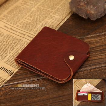 Мужской бумажник в натуральный натуральная кожа застежка с металл винтаж браун теплые ...
