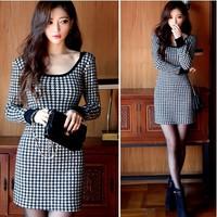 2014 Autumn fashion casual dress. good quality autumn long sleeve white black plaid women dress, vestidos dresses style 1927