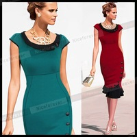 2014 summer fashion new  fishtail pencil dresses elegant patchwork formal office dresses charming slim fit bandage bodycon dress