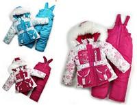 2015 Big promotion Children's Winter Clothing Set baby girl Ski Suit Windproof Flower Fur Jackets+Bib Pants+Wool Vest girls