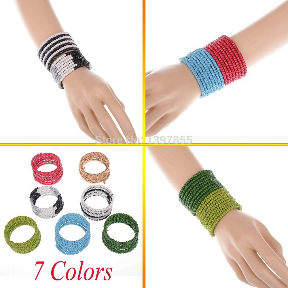 New Fashion Hot Sale Colorful Ball Round Stretch Bracelet Charm Jewelry for Women Girls(China (Mainland))