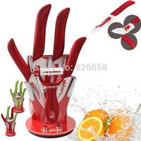 "High Quality Ceramic Knife 6pcs Sets 3"" 4"" 5"" 6"" inch + Peeler+Holder kitchen ceramic knives Free Shipping"