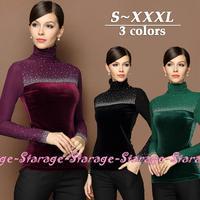 S-XXXL Brand Diamond Beaded Turtleneck Long Sleeve Velvet T-shirts Women Tops Ladies Tee Shirt Fall Winter Big Size Clothes 8119