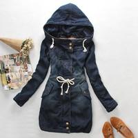 New 2014 Fashion Brand Long Cotton+Denim Winter Coat Women Blue Jacket Female Denim Hooded Coat Outwear For Women SV19 CB029399