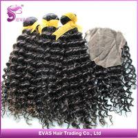 Hot Sale Virgin Malaysian Deep Curly 3 pcs Hair Weft with 1 Bundle Malaysian Lace Closure Deep Curly Human Hair Free Shipping