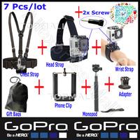 sj5000 Gopro Accessories Head Belt+Chest Belt+Wrist Strap+Bag+ Handheld Monopod+Tripod Mount Adapter For Sj4000 Gopro Hero 3 Kit