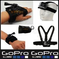 Go pro Sj4000 camera Accessories kit Head Belt+Chest Belt+Wrist Strap+Bag+360 Degree Rotation Hand Strap Gopro HD Hero 3/2/1/3+