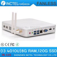 Fanless Mini PC HTPC Game Computer 8G DDR3L 120G SSD Intel Core i3 4010U Haswell Design 4K HD XBMC