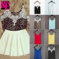 2014 Fashion Summer Women Clothing White Lace Blouse Tank Top Deep V Sexy Women Blouses Blusas Femininas 4 colors
