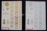 2014 Fashion harajuku hot sale Metallic gold silver  flash tattoo foil temporary body tattoo for women