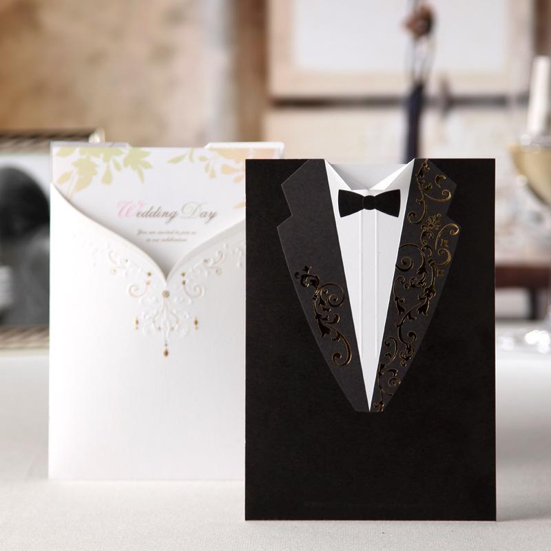 Noiva e noivo convites convite de casamento personalizado elegante branco / preto decoração do casamento grátis frete(China (Mainland))