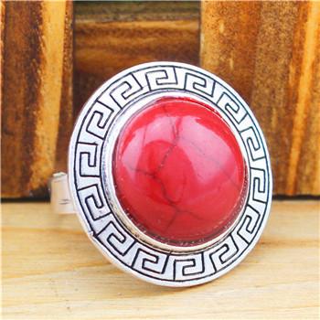 Retro Craft Tibet Alloy Antique Silver Plated Round Longevity Malachite Turquoise Adjustable Rings TR203(China (Mainland))