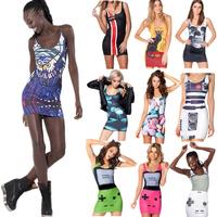 Summer New Fashion Women's Sexy Mini Tank Dress Marijuana Skull Game Cat Cartoon Pattern Print Dresses Bodycon Galaxy Dresses