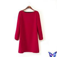 Autumn New Fashion Ladies' Elegant Brief Straight Dress Red O-Neck Long Sleeve Office Women Work Dress Vestido Casual Dress