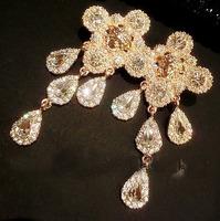 2014 Free shipping new  fashion Luxury Rhinestone earrings temperament elegant woman pearl drop earrings