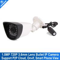 720P hd realtime 1.0MP ONVIF 2.3 Waterproof Outdoor camera IR-CUT Filter Night Vision onvif P2P Plug Bullet IP Network CCTV Cam