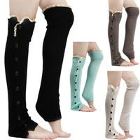 Lace Trim Flat Cuffs Button Down Knit Warmers Knee High Boot Socks Winter Boot Warm Socks Knit Leg Warmer for Christmas DP851958