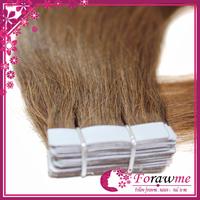 Forawme brazilian human hair straight 50g PU skin weft Tape hair straight 2.5g/pcs( 20pcs/set) #8 medium brown