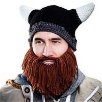 2015 lastest handmade knitted crochet knight beanies novelty hat xmas christmas gift  bearded viking hat beard cap father child