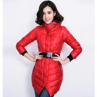 3 colors Genuine duck down slim stand collar winter coat women ultra long down coat with elastic waist belt