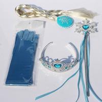 Frozen Elsa Anna princess crown magic wand braid gloves Magic Wand + Rhinestone Hair Crown + Glove Set Girl Gifts Free Shipping