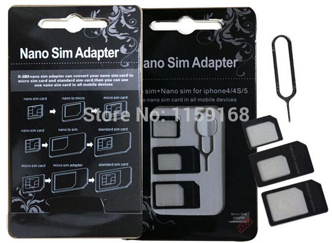 Nano SIM to Micro SIM Card Micro SIM to Standard Card Nano SIM to Standard Card Adapter Kit for iPhone 5 4S White Black(China (Mainland))