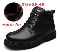 Handmade Genuine leather men boots snow platform fur plus size waterproof winter shoes warm winter men shoes