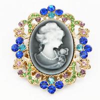 Fashion Multi Crystal Grey Cameo Brooch Scarf Clip For Women