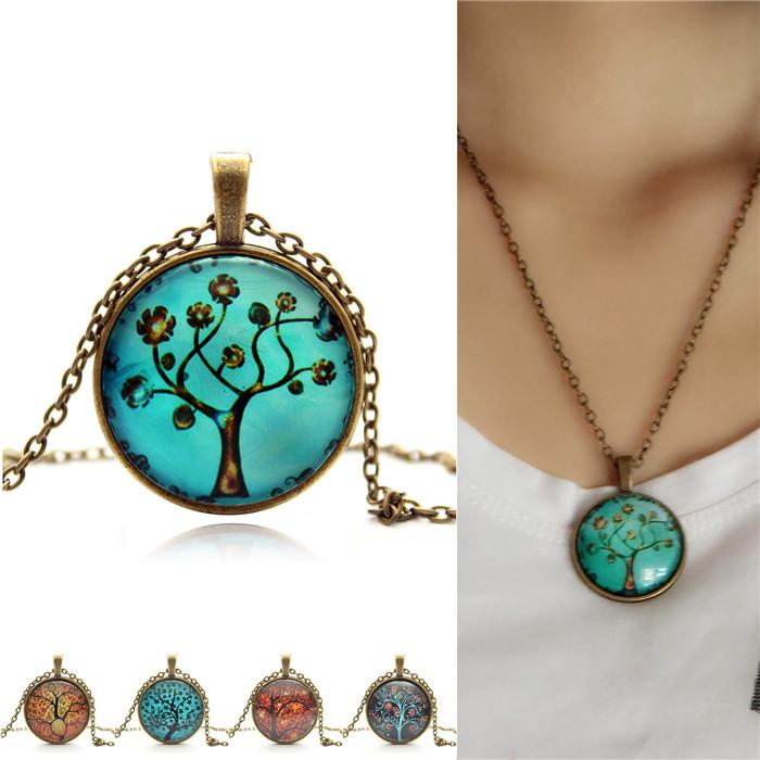 Vintage Snow Snowman lift tree pendant necklace glass cabochon bronze chain statement necklace jewelry for women