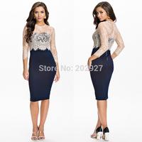 2014 Sexy Bodycon Midi Pencil Dress Women Evening Party Dresses Knee Length Patchwork Lace Office Dress Vestido De Festa HW0204