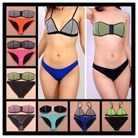 2014 Sexy Hollow Out Mesh Neoprene Swimwear bikini Neon neoprene swimsuit bathing suit neoprene Bandeau bikinis set