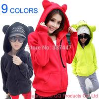 2015 new Plus Size Winter  Men's Cute bear ears Animal pajamas hoodies sweatshirt Animal Hoodies women M-L-XL-XXL