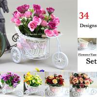 34 Types! Artificial Silk Daisy/Tea Rose + Tricycle Rattan Storage Basket Flower Vase Set Home Decorative Party Wedding Decor