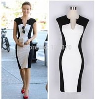 Summer 2014 Sleeveless Dress Women's Black And White Patchwork Pencil Dress Women V-neck Casual Dresses Plus Size Sexy D47