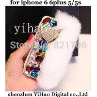 hot sell flip pu leather case luxury Rabbit hair fox fur head diamond case for iPhone 6 5S top Rhinestone holster Free shipping