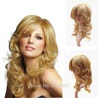 "European Women Amazing Long Wavy Curly Blonde Wig 16"" Side Bangs Full Wigs Free Shipping"