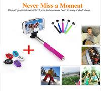 Extendable Self Selfie Stick Handheld Monopod+Clip Holder+Bluetooth Camera Shutter Remote Controller for iPhone Samsung gopro