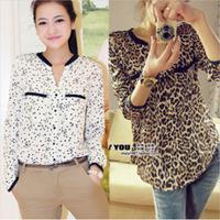 Spring New Autumn Plus Size 2014 Sexy Leopard Printed Women Chiffon Shirt Sleeves Chemise Femme Ladies Tops Blusas Femininas