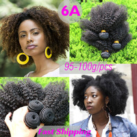 "6A Mongolian Kinky Curly Hair Extensions 100% Human Virgin Hair Weave Tight Curly 100G/Pc Afro Kinky Curly Virgin Hair 12""-26"""