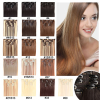 "Clip In Synthetic Hair Extension 22""130g Synthetic Hair Extension High Temperature Fiber Synthetic Hair 7pcs 16 Colors Available"