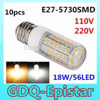 10pcs/lot  High Bright 18W Wall LED lamps E27 56 LEDs 110V 220V High Quality 5730 SMD Corn LED Bulb Ceiling light