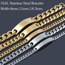 New vintage men 316L stainless steel 18K Gold&Siver Bracelets,fashion titanium steel hand chains jewelry for men&women IB088